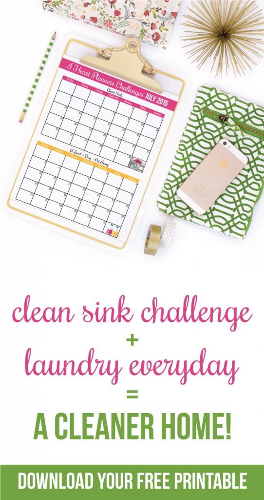 Cute printable to do a clean sink challenge and a laundry challenge - great way to stay motivated!