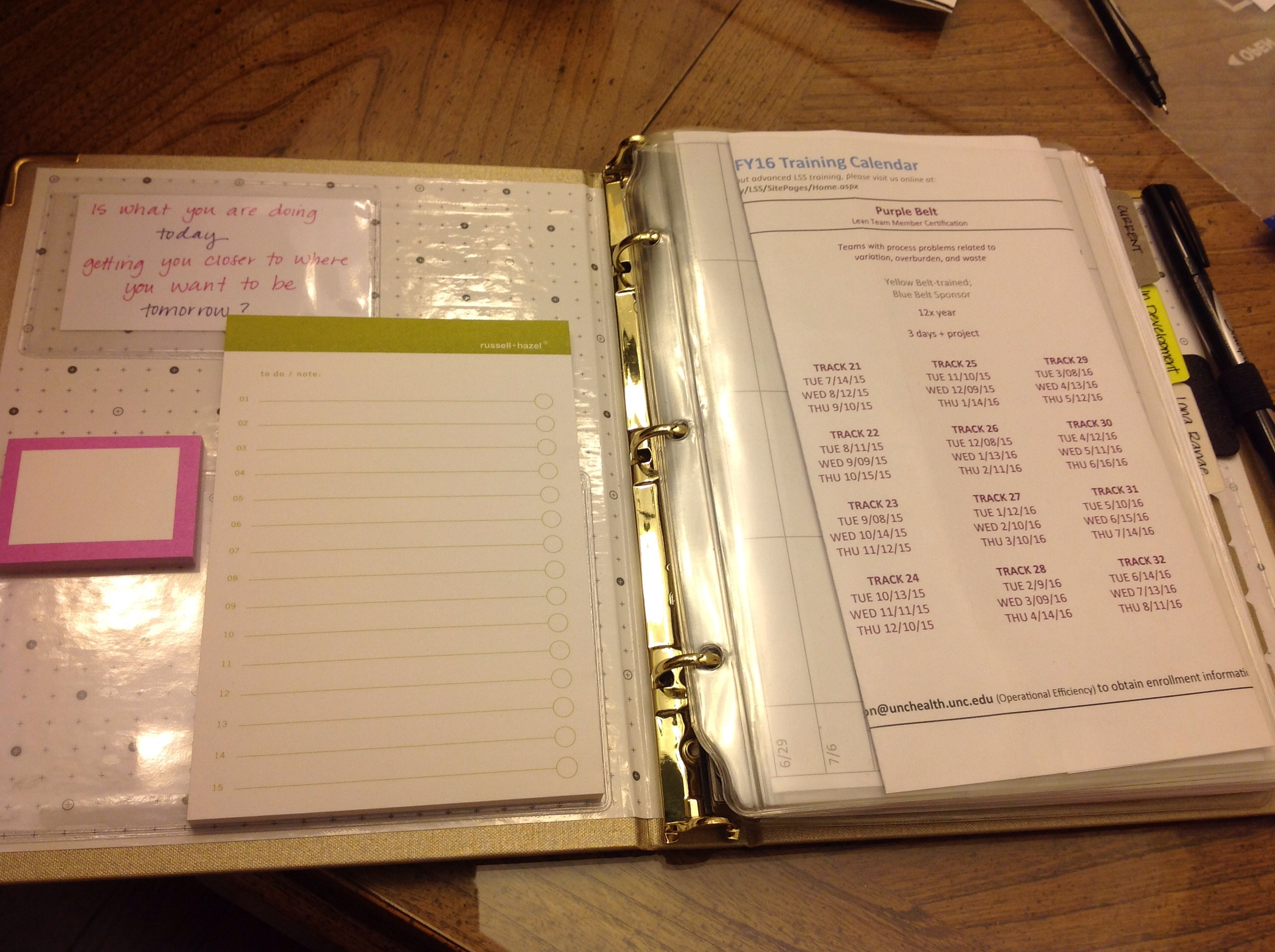 Russell + Hazel mini binder with SmartDate inserts