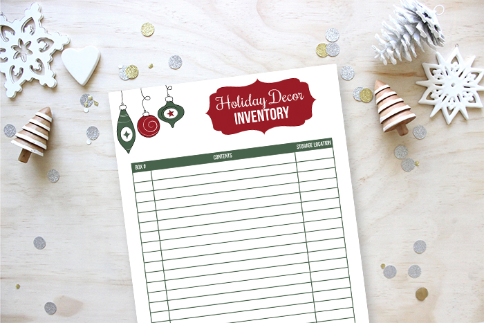 Holiday Decor Inventory Printable