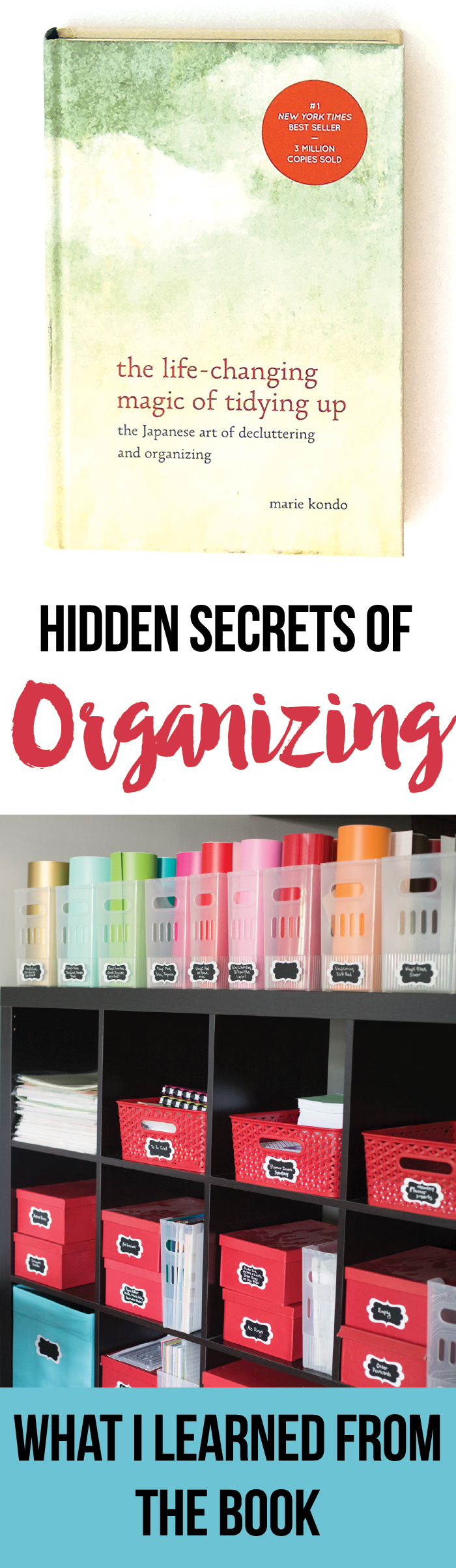 What I learned about organizing and decluttering from Marie Kondo in the LIfe Changing Magic of Tidying Up. Even though I didn't agree completely with everything in the book, I'm definitely going to implement many aspects of the KonMari method.
