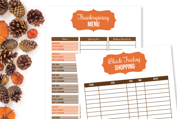 Printable Thanksgiving Menu Planner and Black Friday Shopping List