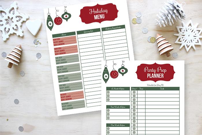 Holiday Menu Planner Printable plus Party Prep Planning Printable