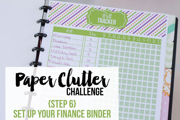 Get your paper clutter under control: Create a finance binder.