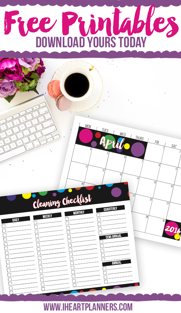 Free Printables from iheartplanners.com
