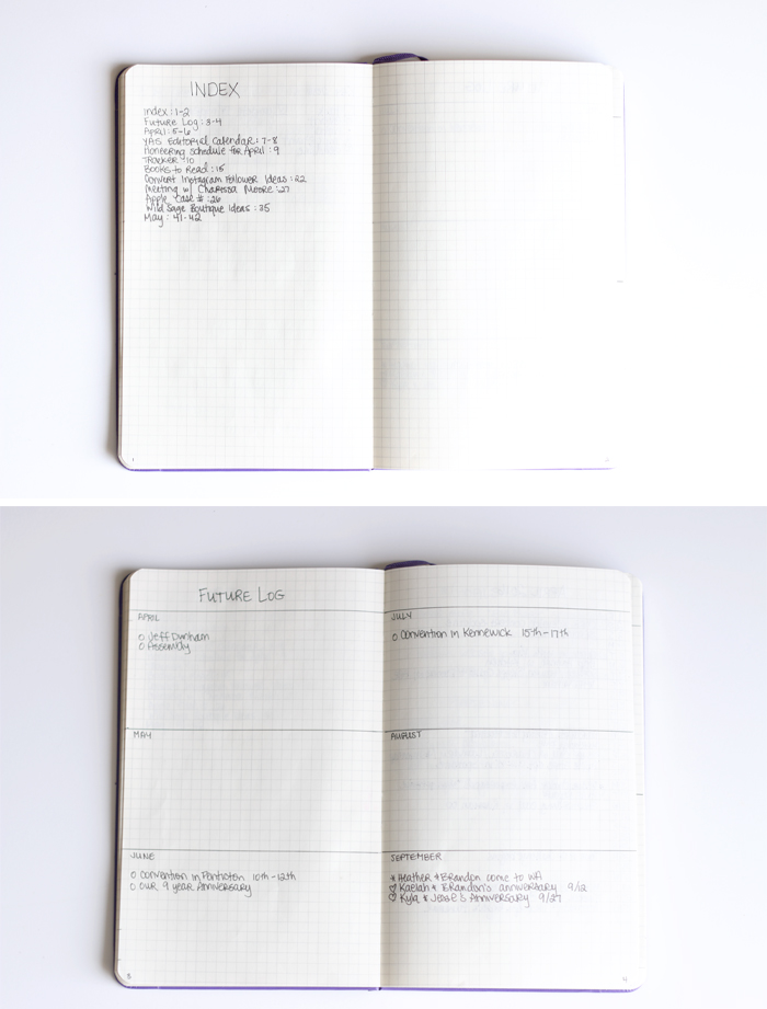 The Index and Future Log pages from my Bullet Journal