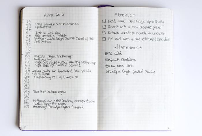 Monthly Log inside my Bullet Journal
