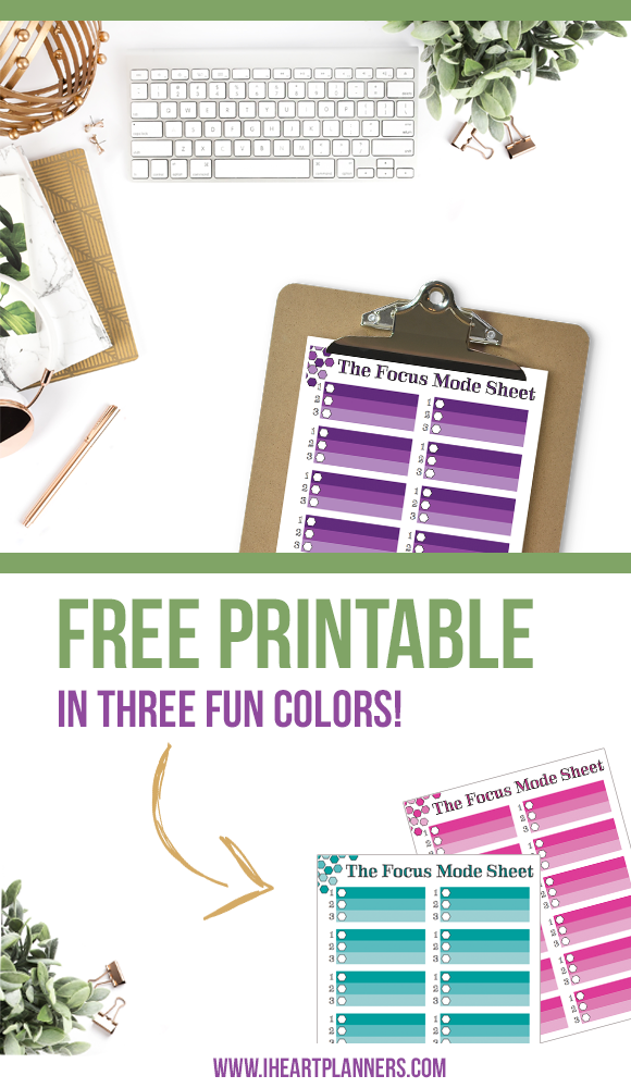 When I have an overwhelmingly long to do list and I don't know where to start, I like to focus on just the next three things.  I've got a free printable download for you in 3 color options to help you focus too! - iheartplanners.com