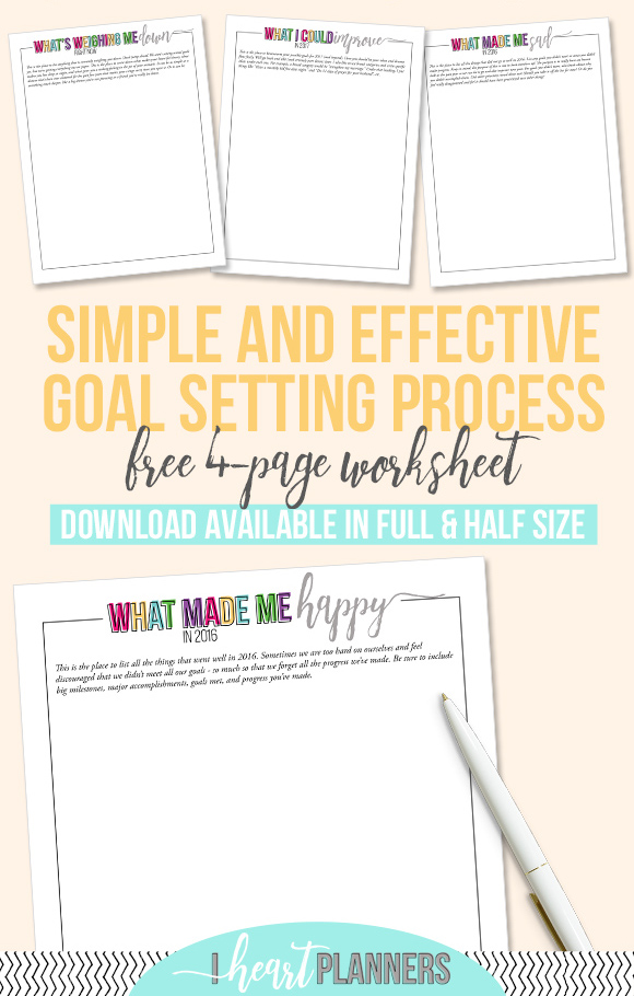 Goal Setting Printables | Reflect and set intentional goals | Full and Half Size Printables