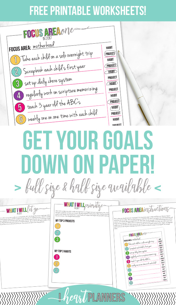 Sharing with you how to make some concrete goals out of the brainstorming and reflecting from last week. Free printable worksheets available in full size and half size. www.iheartplanners.com