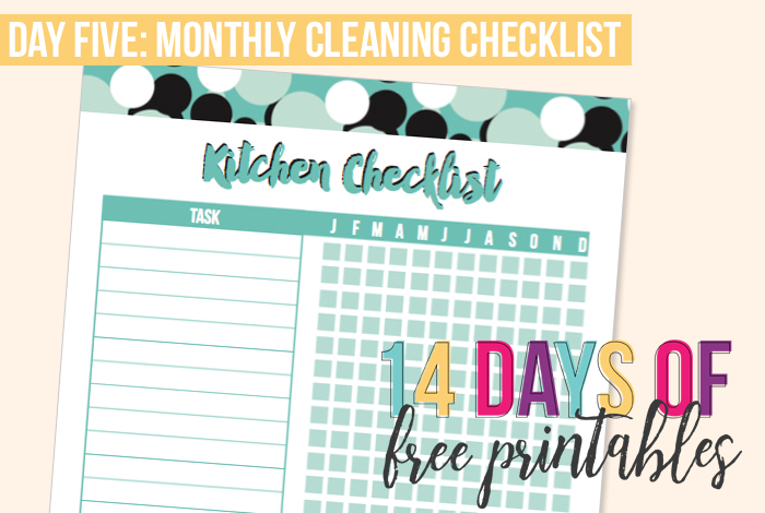 Day 5: Monthly Cleaning Checklist