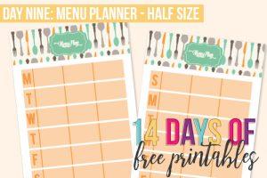 Day 9: Menu Planner – Half Size