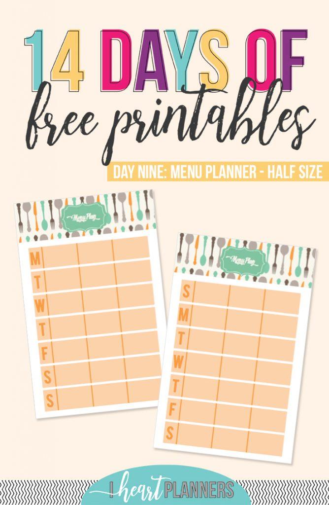 Menu Planner | Meal Planner | Free Printable | Half Letter Size | Junior Size Printable