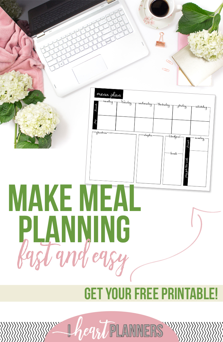 Get my fresh new take on meal planning along with a free printable so you can try this right along with me. - iheartplanners.com