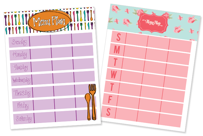 Save time by printing, filling out and sticking to a meal plan. Printables available from iheartplanners.com