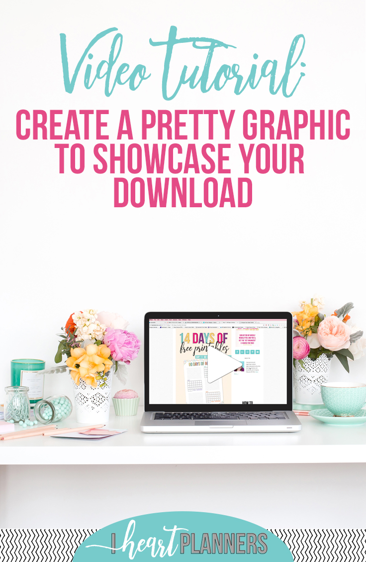 "Many students in my ""how to create your own printables"" course want to know how to make a pretty graphic or image to display their printables. Here's how I do it in Canva with a video tutorial! - iheartplanners.com"