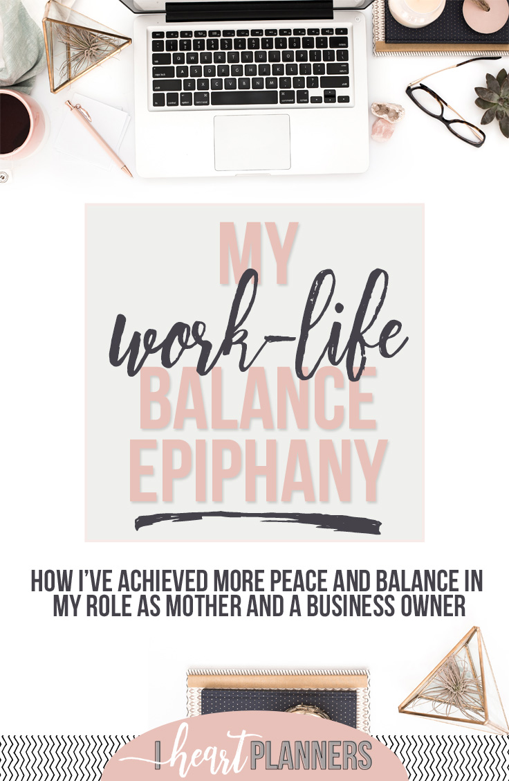Work-Life Balance: The great news is that there are some very specific things I've done that have helped tremendously in achieving more peace and balance in my role as mother and a business owner. These things are repeatable and totally doable by anyone at any stage of business! Get all the details here! - iheartplanners.com