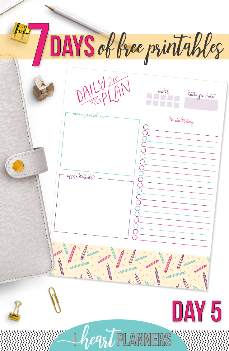 Day Five of the 7 Days of Free Printables Series. Download now and use today! - www.iheartplanners.com