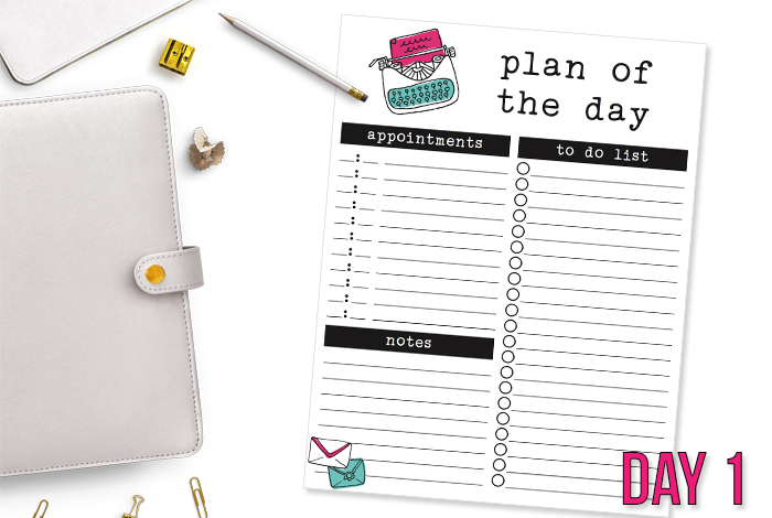 Daily Planning Printable – Day 1
