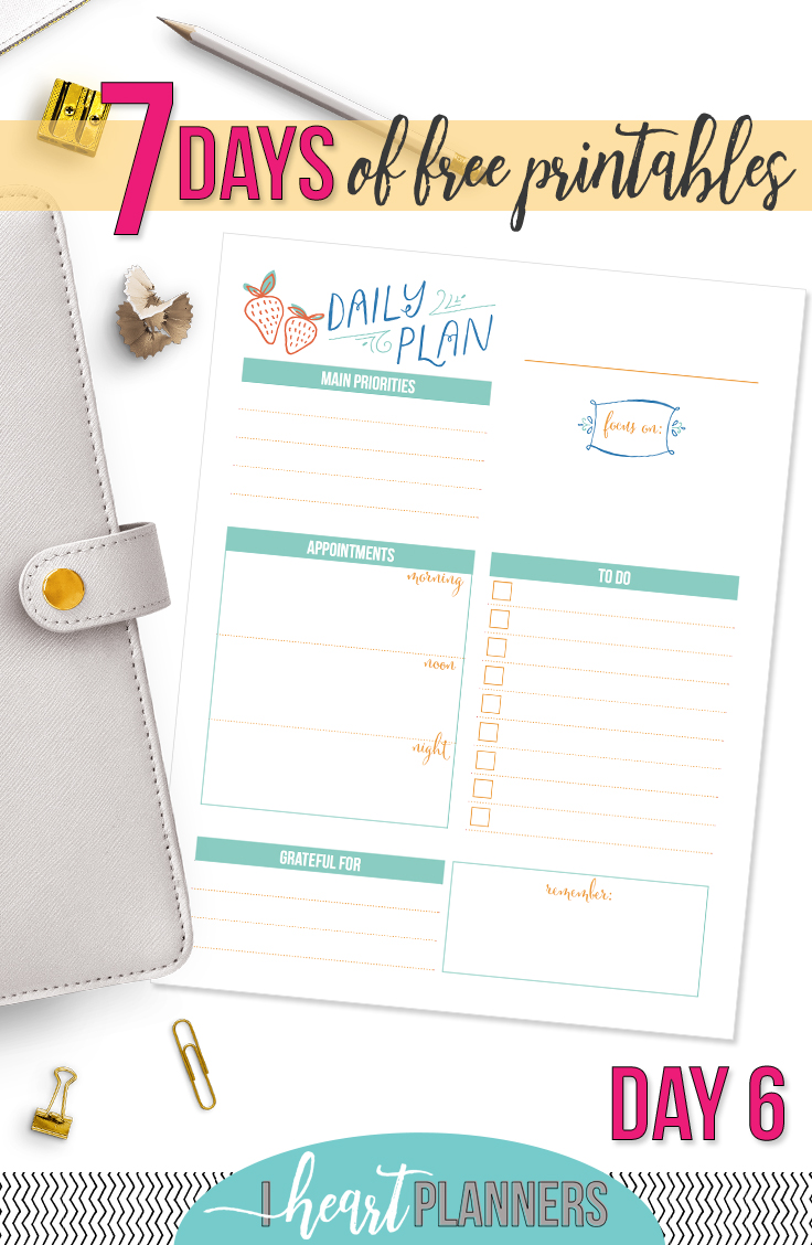 Day Six of the 7 Days of Free Printables Series. Download now and use today! - www.iheartplanners.com