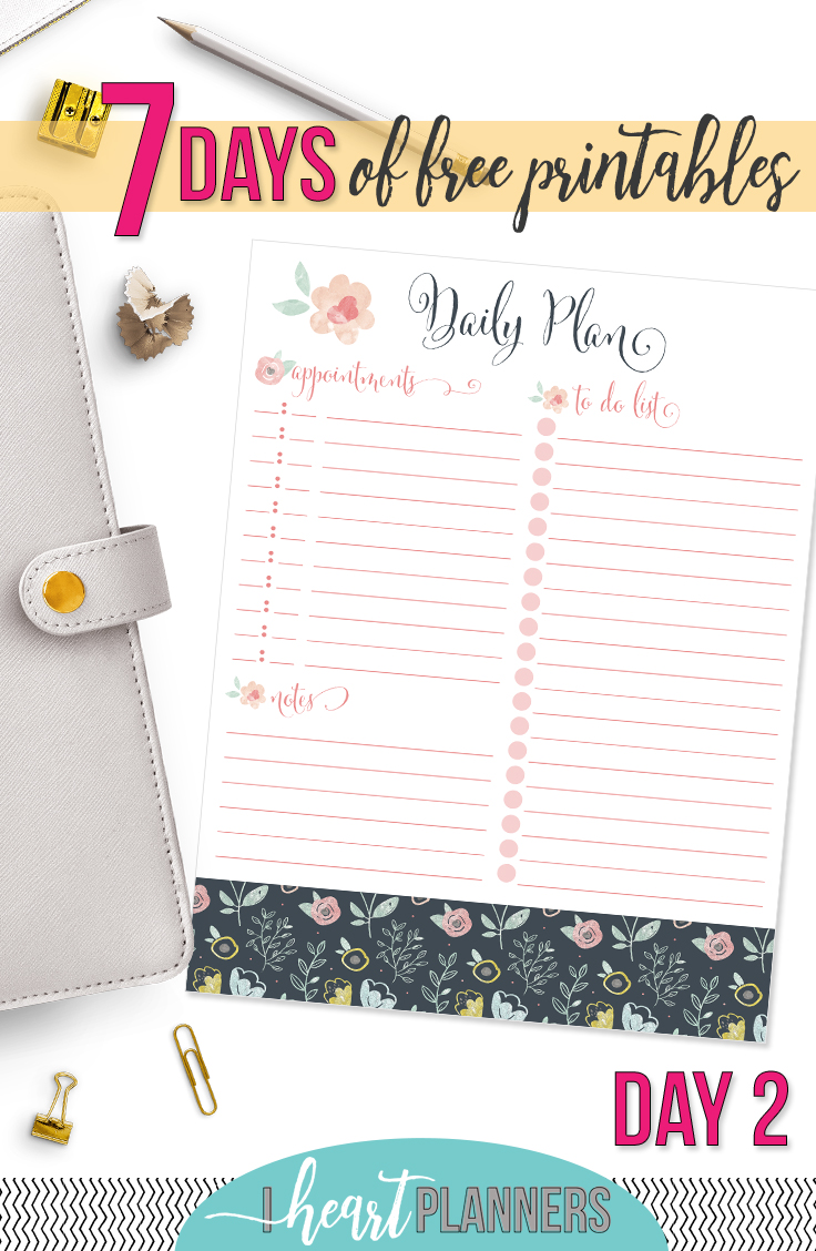 Floral Daily Planning Printable I Heart Planners