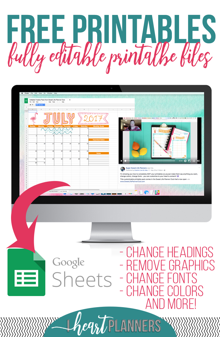3 All-new, fully editable printable files from iheartplanners. Full size, half size and personal size available and editable in Google Sheets. - iheartplanners.com