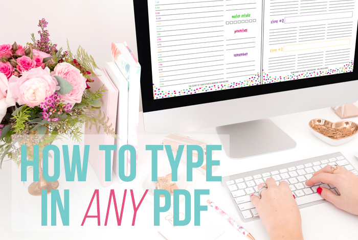 You can type anywhere in any PDF. So you can type to your heart's content in all those printables you downloaded. Here's a video tutorial showing you exactly how. - iheartplanners.com