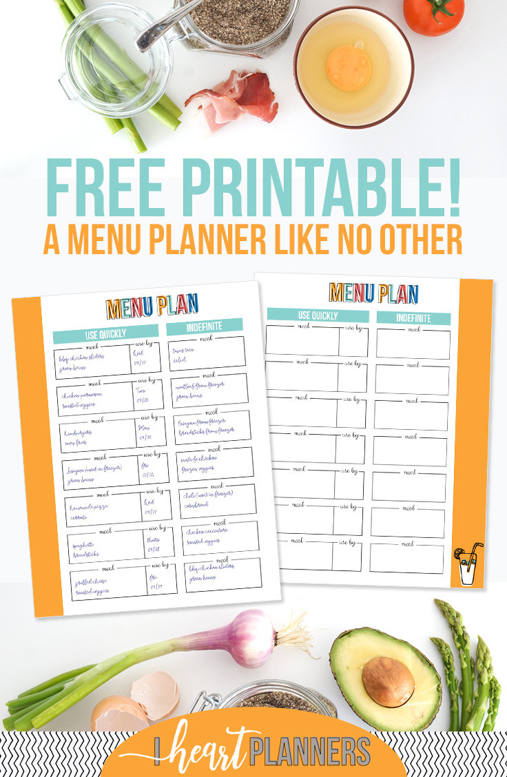 FREE PRINTABLE - A menu planner like no other! - iheartplanners.com