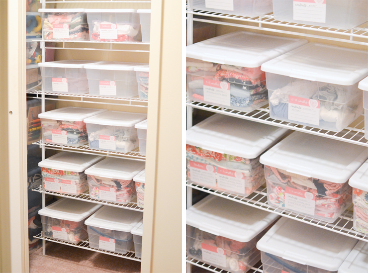 How to organize and store clothing that the kids are currently wearing and free printable labels for storage! - iheartplanners.com