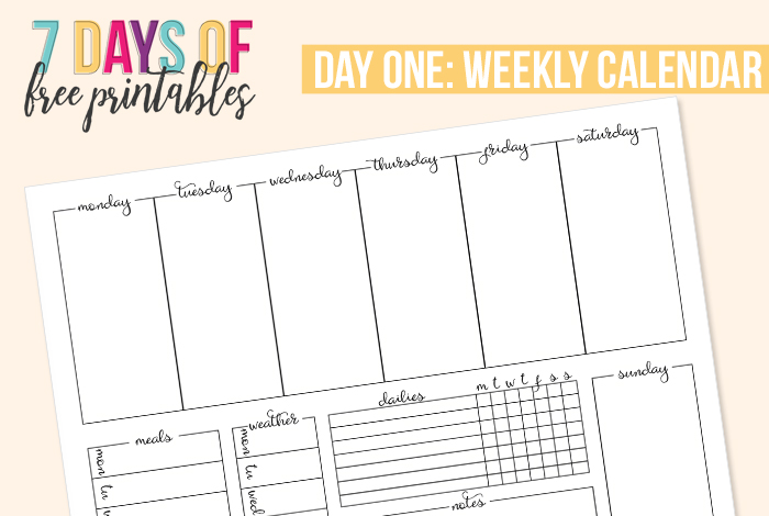 picture about Calendar for Printable referred to as Printable Weekly Calendar - I Centre Planners