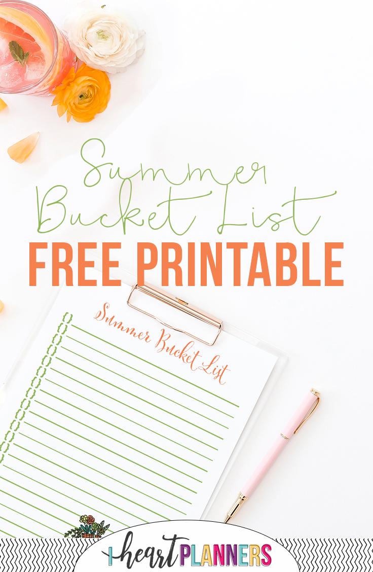 Summer Bucket List Free Printable - iheartplanners.com