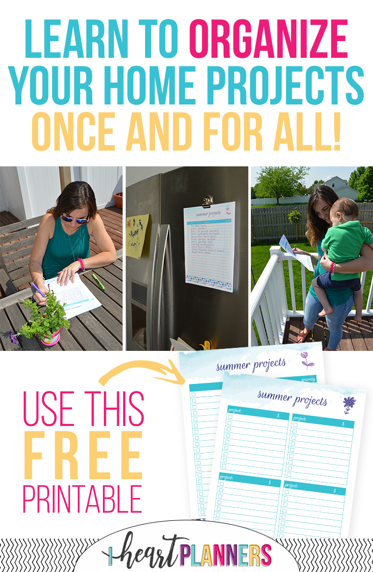 It's time to start those DIY summer projects! Learn how to organize your home projects with a free printable. Use this to complete all the projects on your to do list! - iheartplanners.com