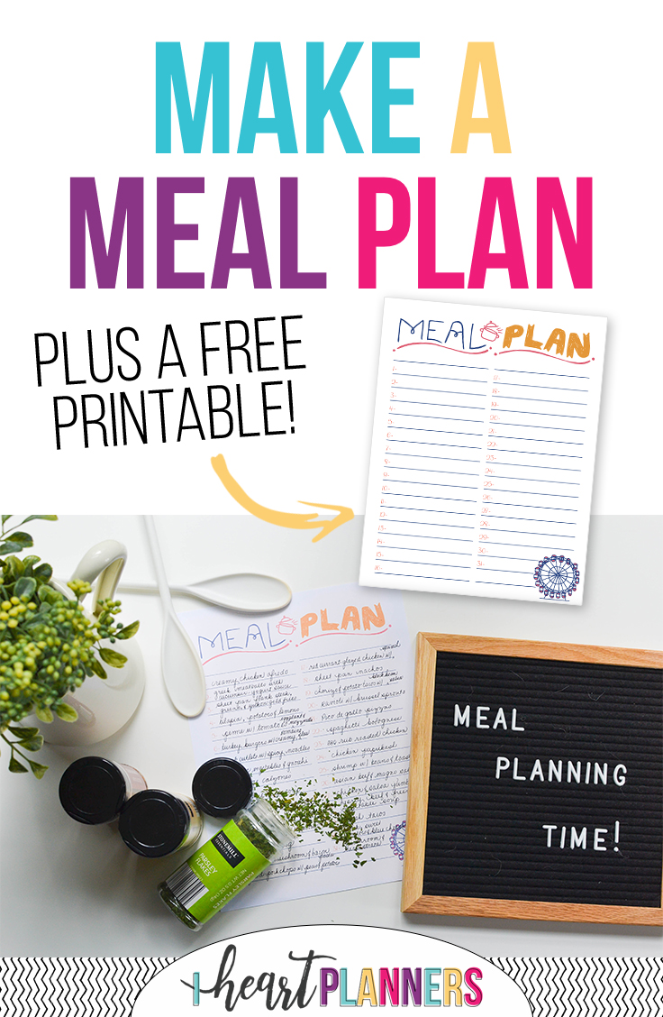 free monthly meal planner i heart planners