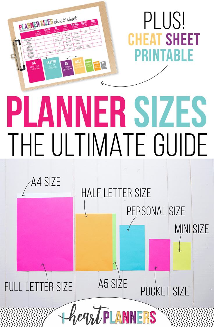 I get asked frequently about planner page sizes. What size is best? Which planner inserts are compatible which each other? Is A5 the same as half size? I'm here to help clear up all the confusion!! Keep reading.