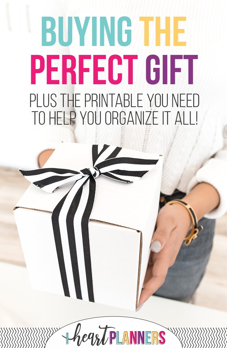 Gift giving and gift shopping is hard. Finding the perfect gift requires time and planning. This free printable will help!
