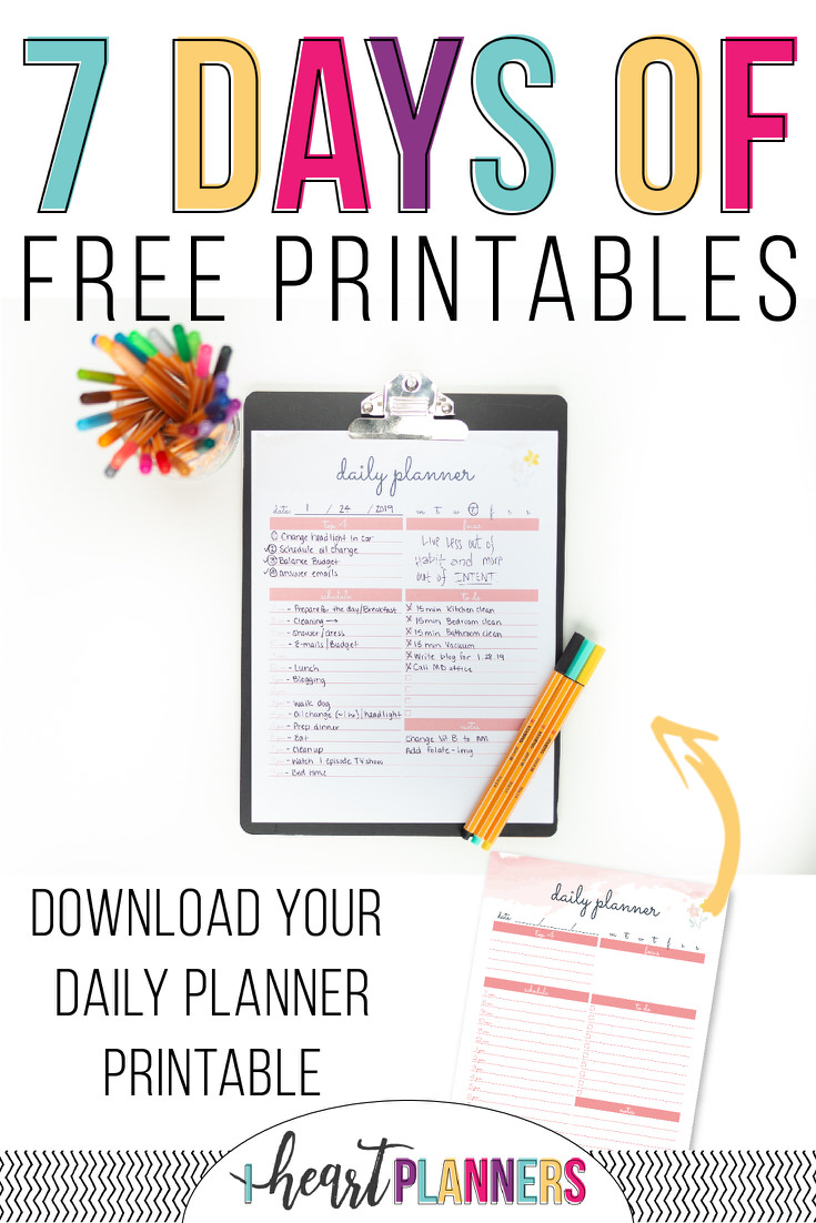 7 days of free printables - daily planner