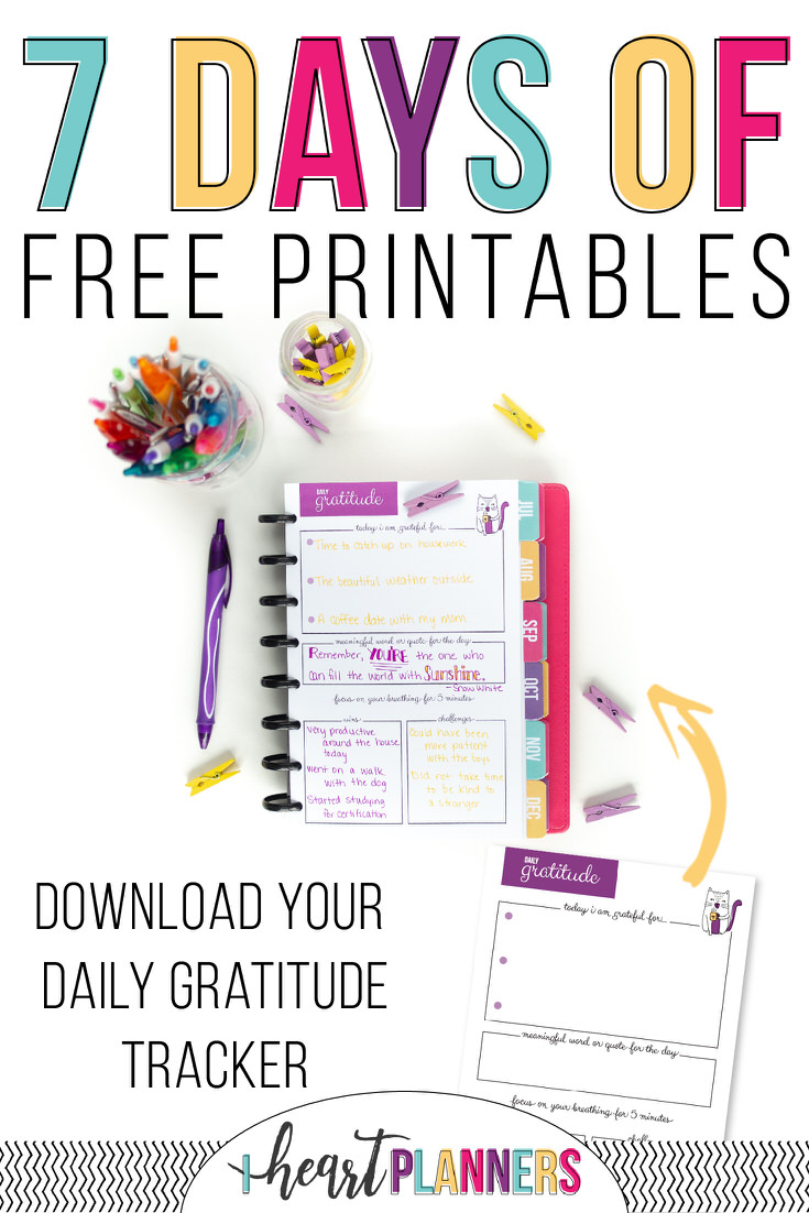 7 days of free printables - daily gratitude tracker
