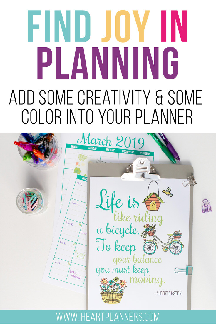 Free planner printables every month! Check out our coloring page. Let it remind you that this planner is yours and yours alone. So if you like a pop of creativity and color here and there, then snatch up this page and take 10 minutes to color it in.