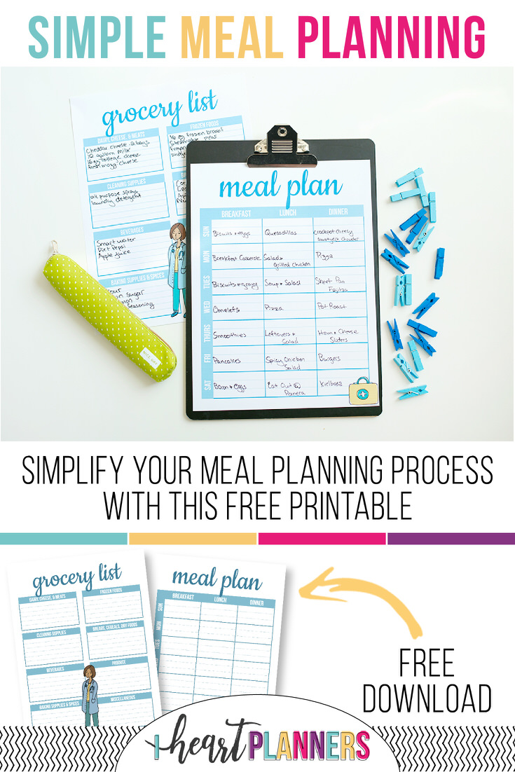 Free planner printables every month! Check out this simple, but super effective meal planning printable.