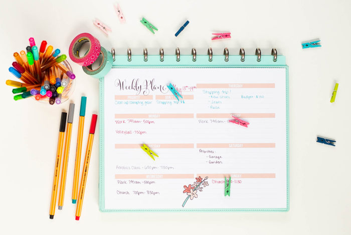 Free printable weekly planner! This month's printable weekly planner is available in the darling cherry blossom theme.