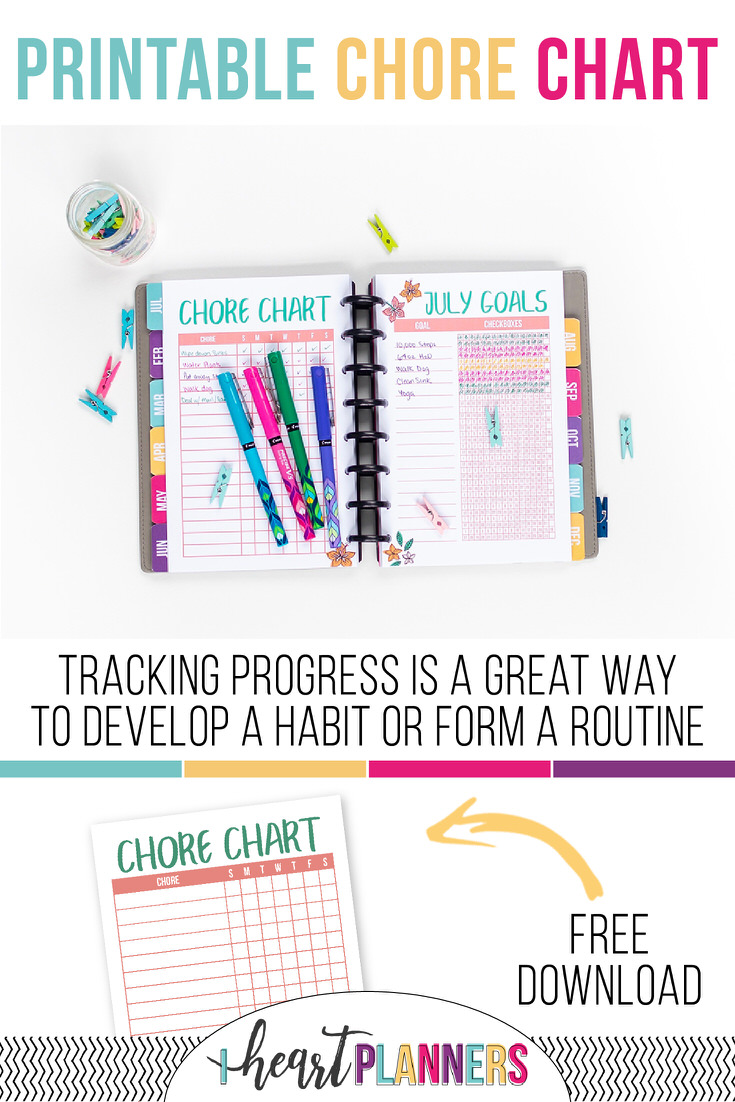 photo relating to Chore Chart for Adults Printable Free referred to as Free of charge Printable Chore Chart - I Center Planners