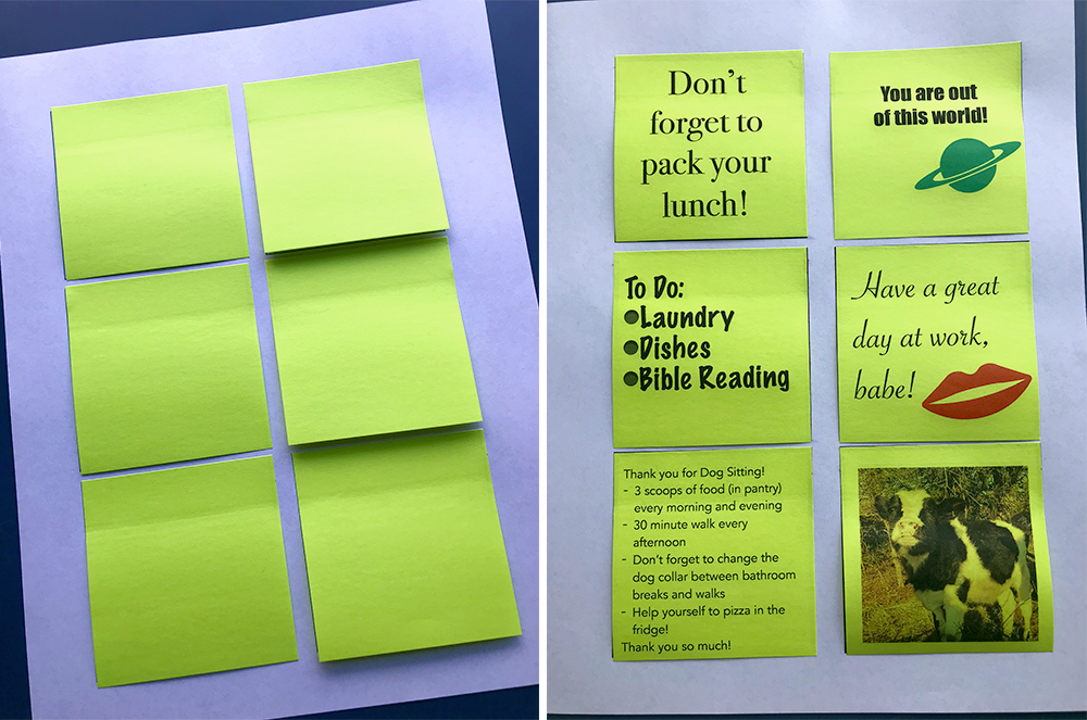 You can quickly and easily make your own template to print on sticky notes of almost any shape or size!