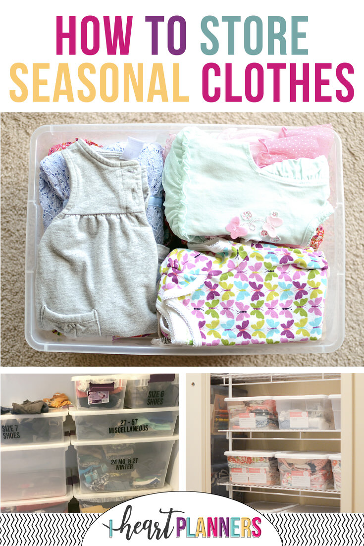 Some great tips and ideas for how to store seasonal clothes - for both kids and adults to avoid closet clutter. Keep your off season clothes organized will help make it easier to choose what to wear each day.